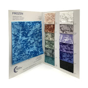 The inside spread of the color card for Frozen Crushed Stretch Velvet.