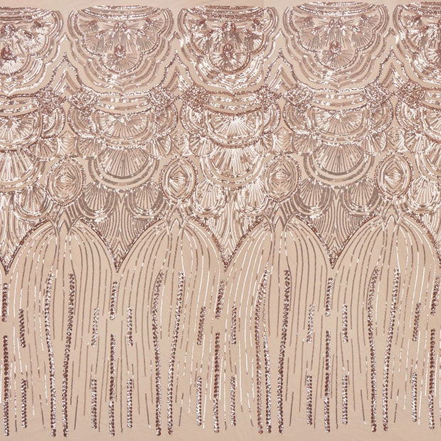 A panel of Gatsby, an Art Deco-inspired design with embroidered rose gold sequin on a tan stretch mesh base.