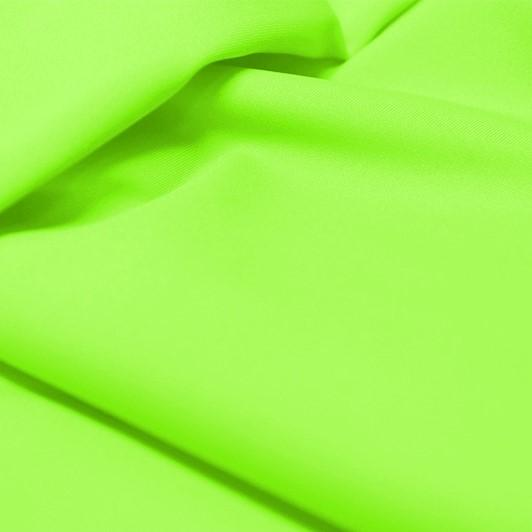 A flat sample of allure polyester spandex in the color electric lime.