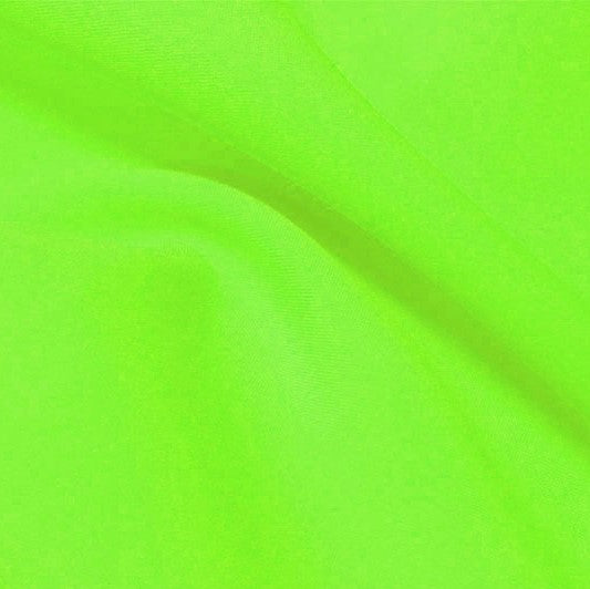 A flat sample of flexfilt recycled polyester spandex in the color electric lime.