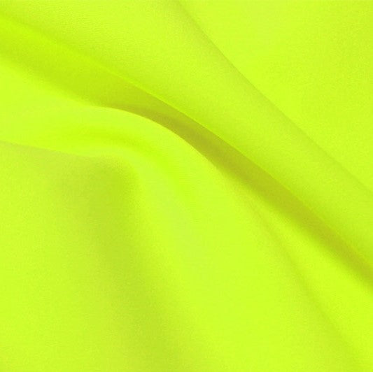 A flat sample of flexfilt recycled polyester spandex in the color lemonade.