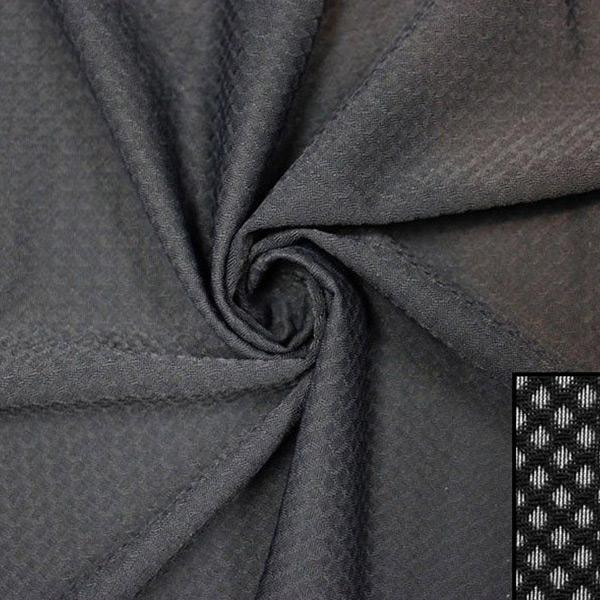 A swirled piece of Hive Textured Spandex in the color black.