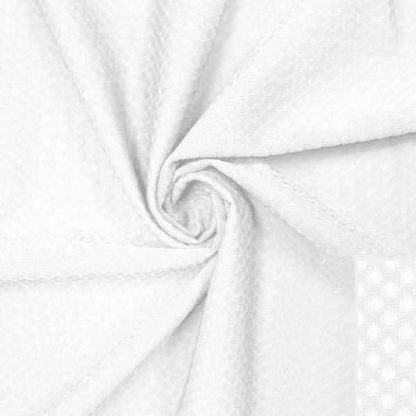 A swirled piece of Hive Textured Spandex in the color white.