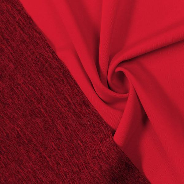 A swirled piece of Karma Double-Sided Heather Spandex in the color blood red.