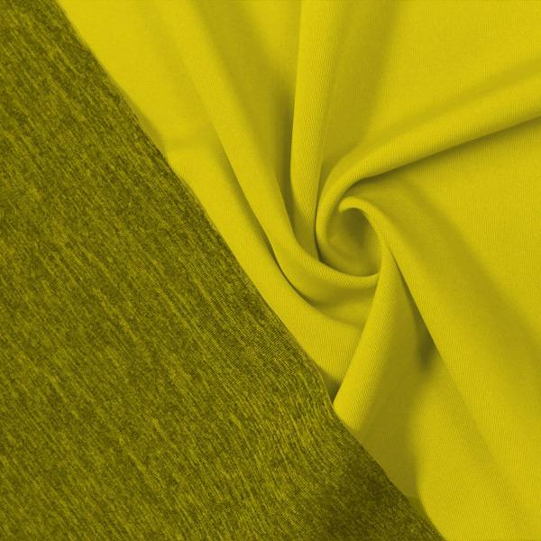A swirled piece of Karma Double-Sided Heather Spandex in the color chartreuse.