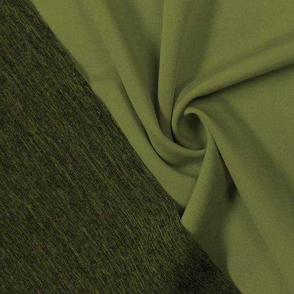 A swirled piece of Karma Double-Sided Heather Spandex in the color olive twist.