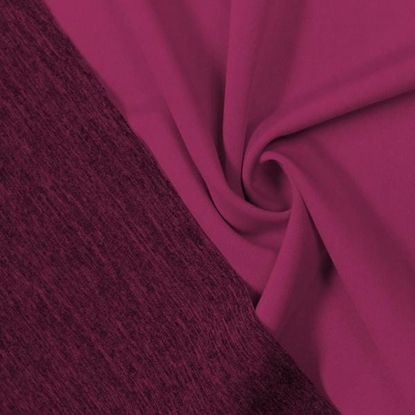 A swirled piece of Karma Double-Sided Heather Spandex in the color wine.