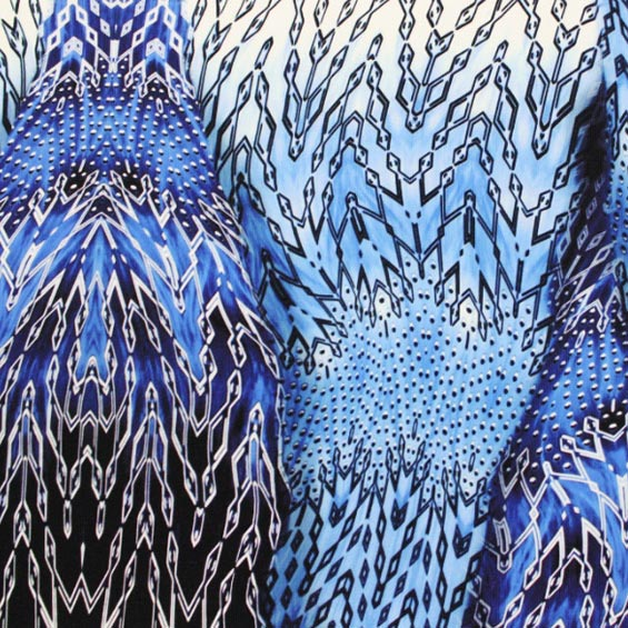 A flat sample of Blue Motion Activewear Printed Spandex.