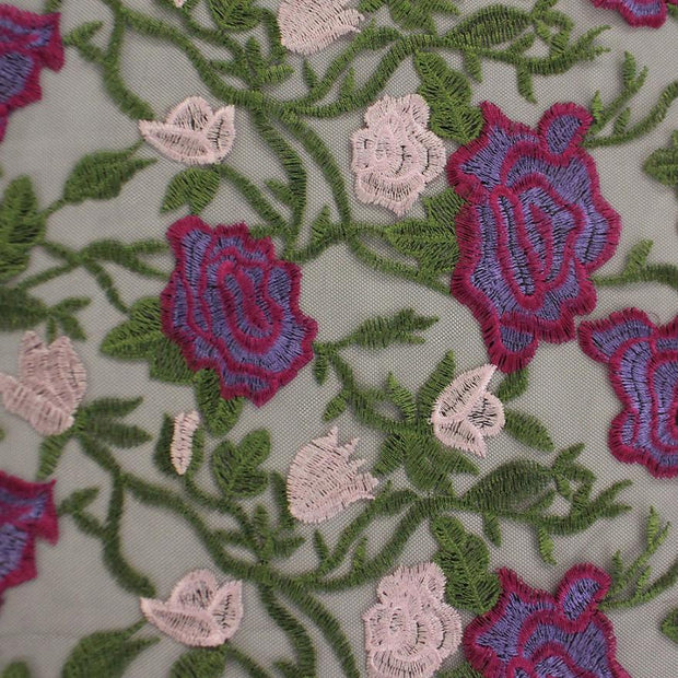 Lavender Dreams Black Mesh Embroidered with Green Vines, Purple and Pink Flowers