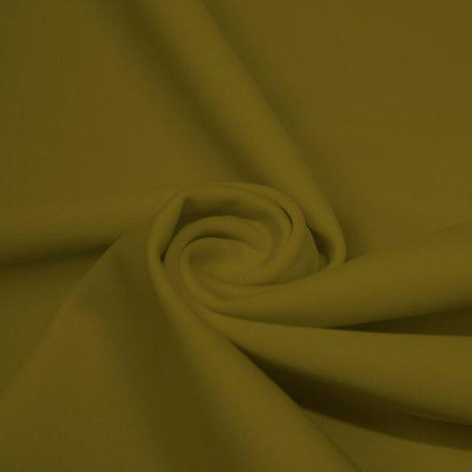 A swirled piece of matte nylon spandex fabric in the color avocado.
