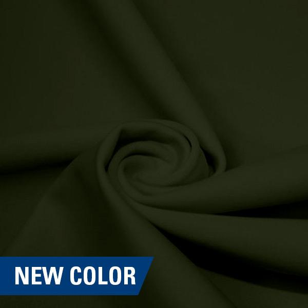 A swirled piece of matte nylon spandex fabric in the color dusty olive.