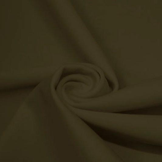 A swirled piece of matte nylon spandex fabric in the color olive green.