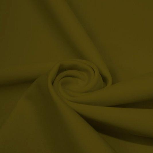 A swirled piece of matte nylon spandex fabric in the color olive twist.