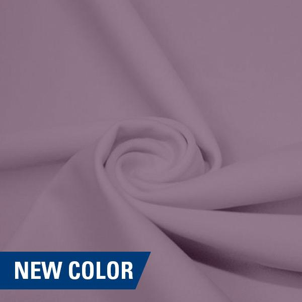 A swirled piece of matte nylon spandex fabric in the color plush.
