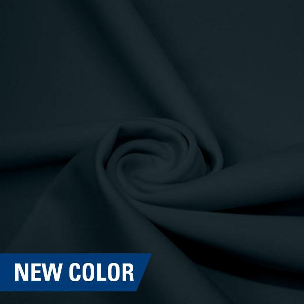 A swirled piece of matte nylon spandex fabric in the color symphony.