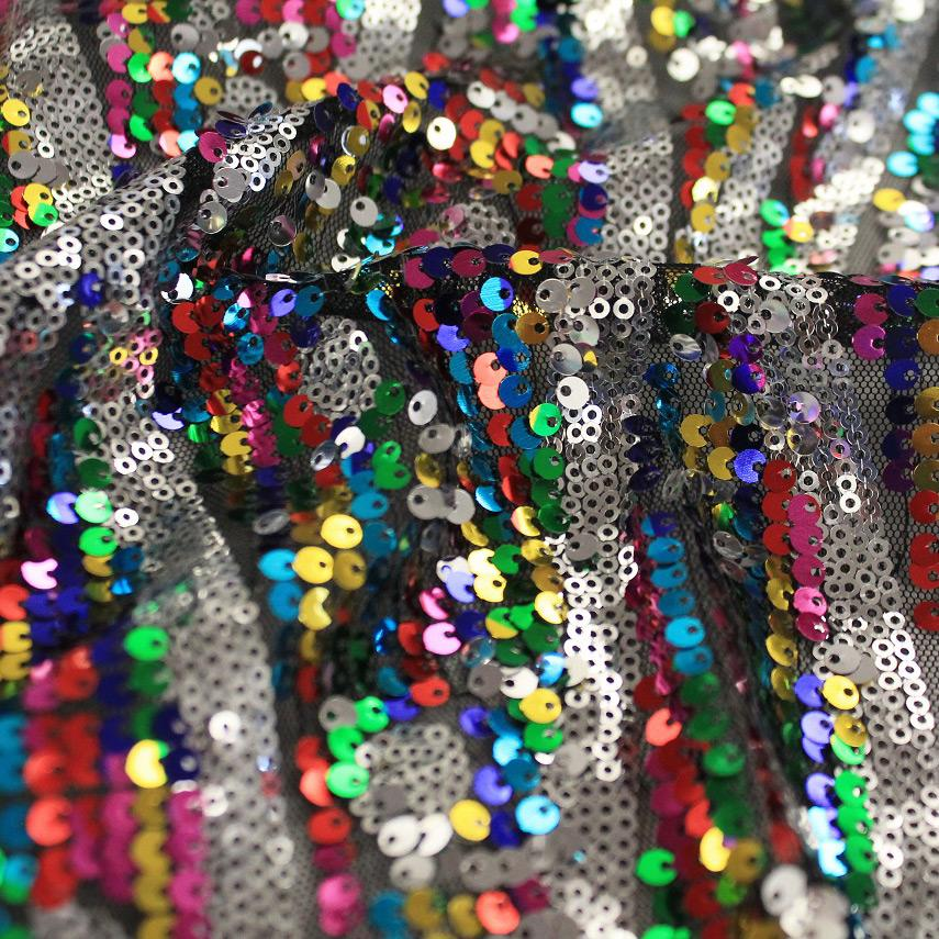 Multi Sparkles Black Mesh Embroidered with Silver and Multicolored Sequin