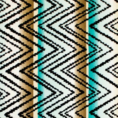 A flat sample of Brown and Turquoise Zig-Zag Printed Spandex.