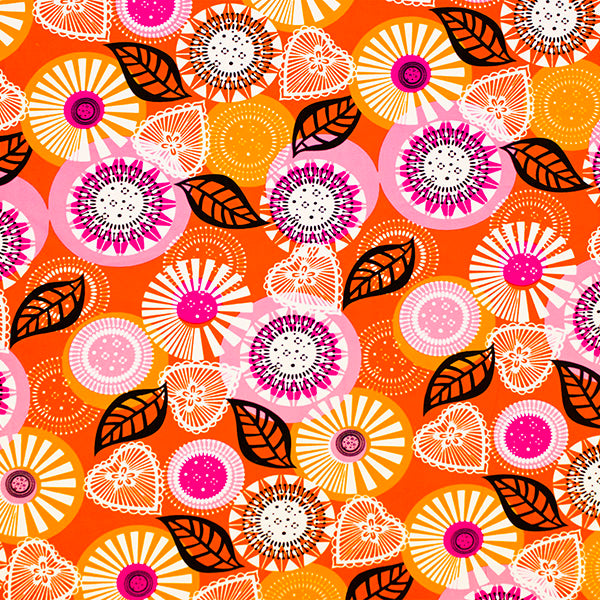 A flat sample of Retro Daisies Printed Spandex.