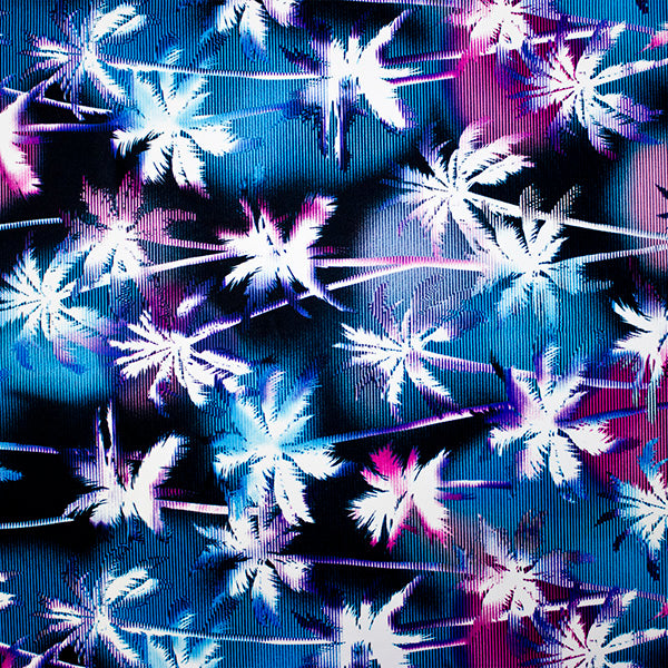 A flat sample of Ghost Palm Trees Printed Spandex.