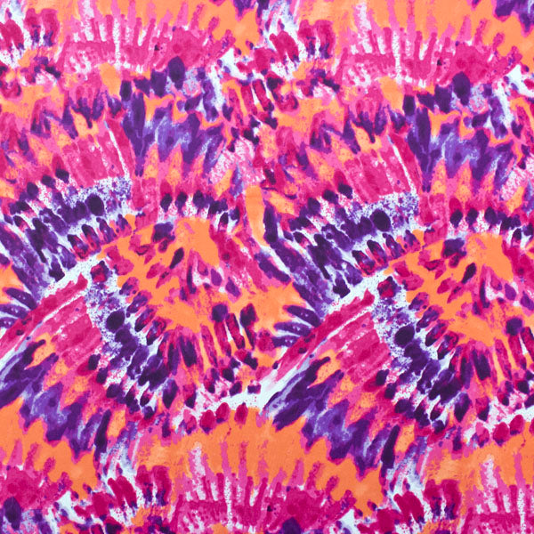 A flat sample of Sunset Tie-Dye Printed Spandex.