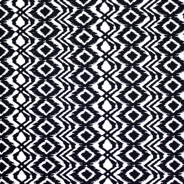 A flat sample of Tribal Diamond Printed Spandex.