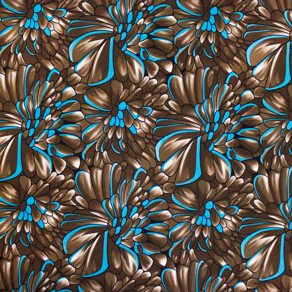 A flat sample of Blue and Brown Petals Printed Spandex.