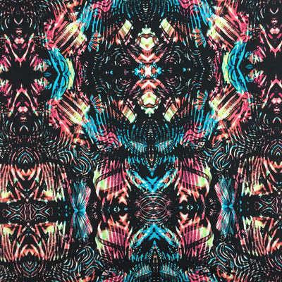 A flat sample of Tribal Kaleidoscope Printed Spandex.
