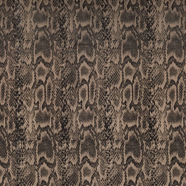 A flat sample of Brown Python Printed Spandex.