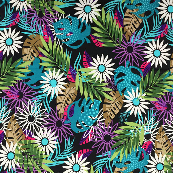 A flat sample of Leaves and Daisies Printed Spandex.