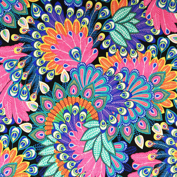A flat sample of Peacock Flowers Printed Spandex.