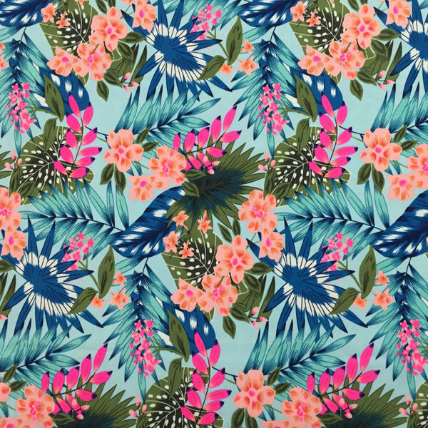 A flat sample of Pink and Blue Tropical Printed Spandex.