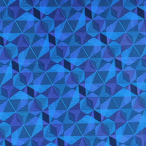 A flat sample of Aquatic Geometric Printed Spandex.