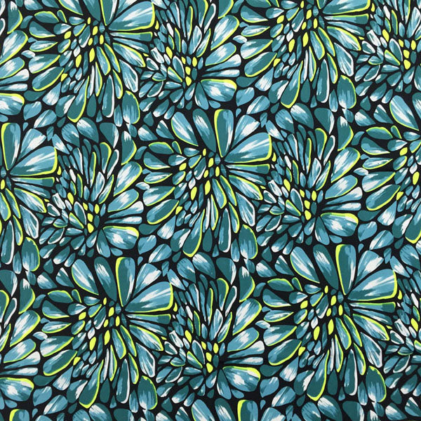 A flat sample of Blue Green Petals Printed Spandex.
