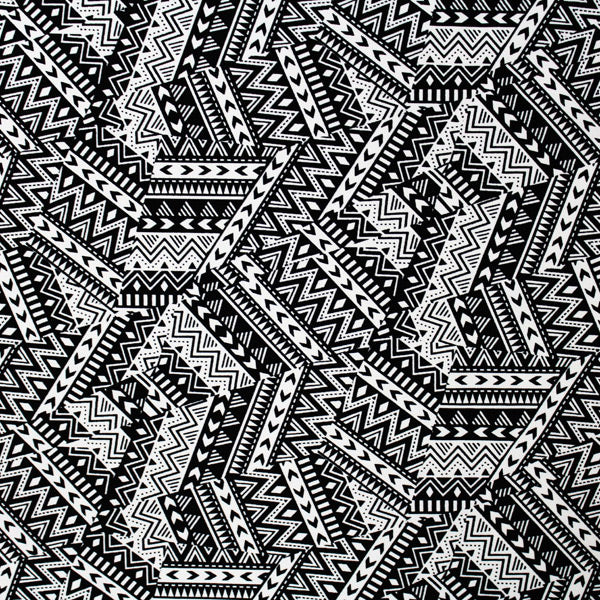 A flat sample of Geometric Tribal Printed Spandex.