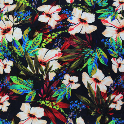 A flat sample of Tropical Hibiscus Printed Spandex.