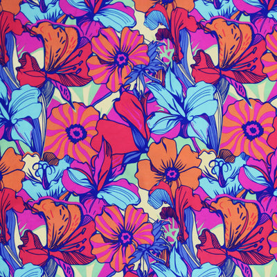 A flat sample of Trippy Flower Bed Printed Spandex.