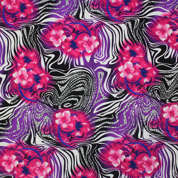 A flat sample of Wild Swirling Flowers Printed Spandex.