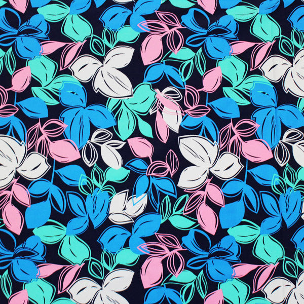A flat sample of Retro Floral Printed Spandex.