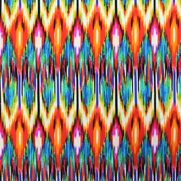 A flat sample of Rainbow Tribal Printed Spandex.