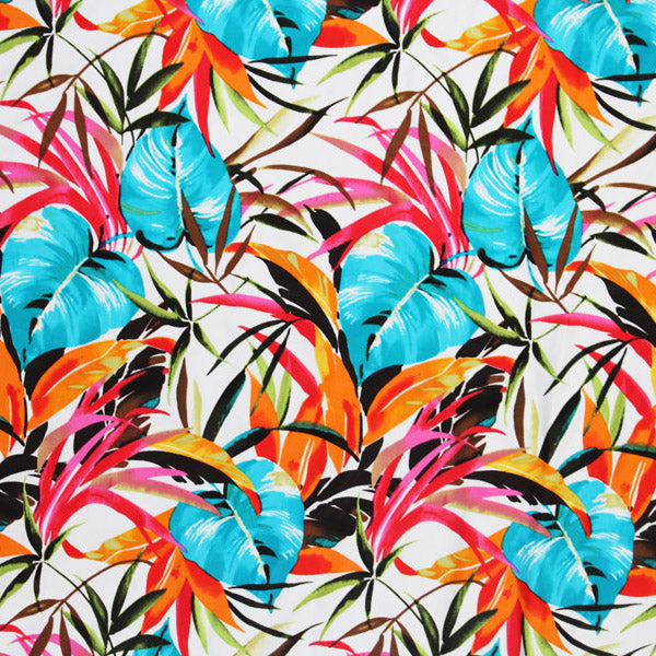Tropical Plant Leaves Printed Spandex