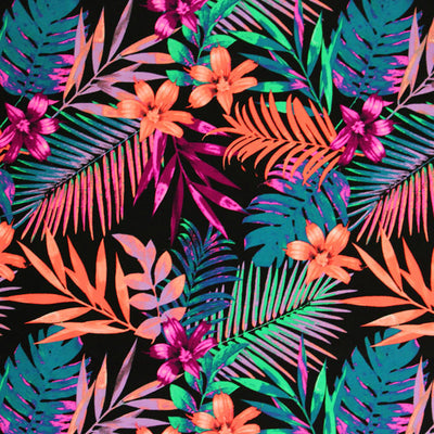 A flat sample of Hawaiian Tropical Printed Spandex.