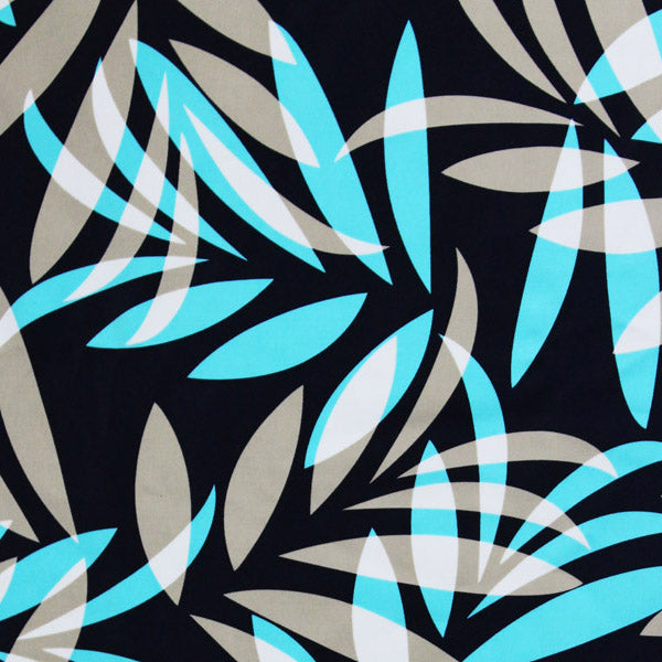 A flat sample of Grey and Blue Leaves Printed Spandex.
