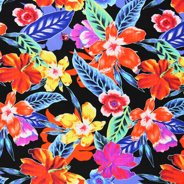 A flat sample of Radiating Hibiscus Printed Spandex.