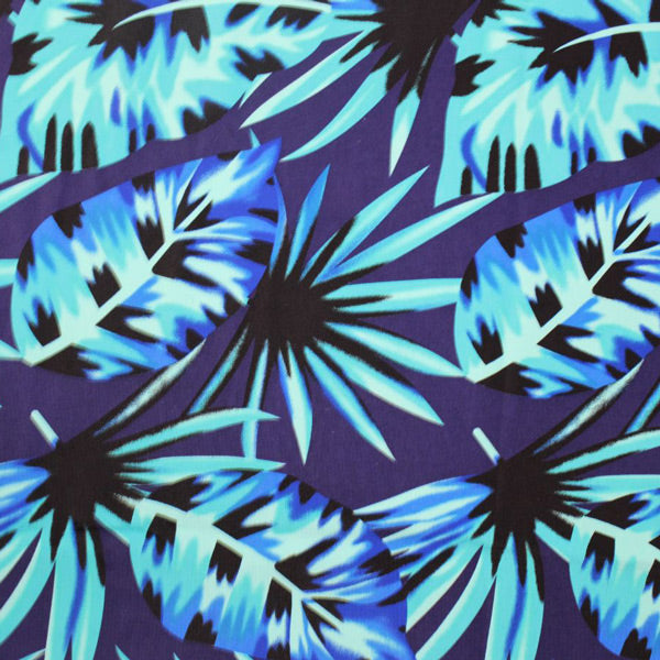 A flat sample of Miami Vice Palm Leaves Printed Spandex.