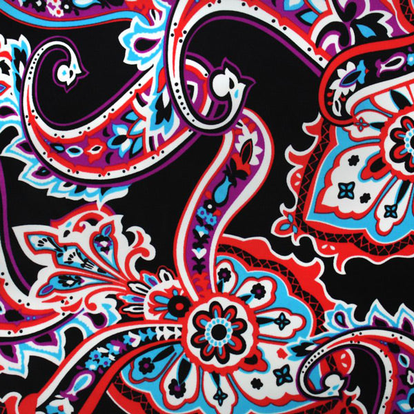 A flat sample of Groovy Paisley Printed Spandex.