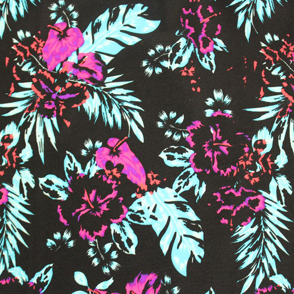 A flat sample of Punk Flowers Printed Spandex.