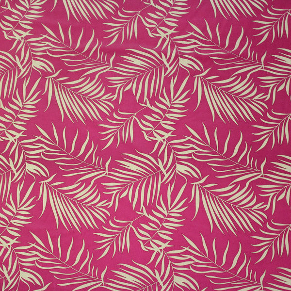 Pink and Green Fronds Printed Spandex