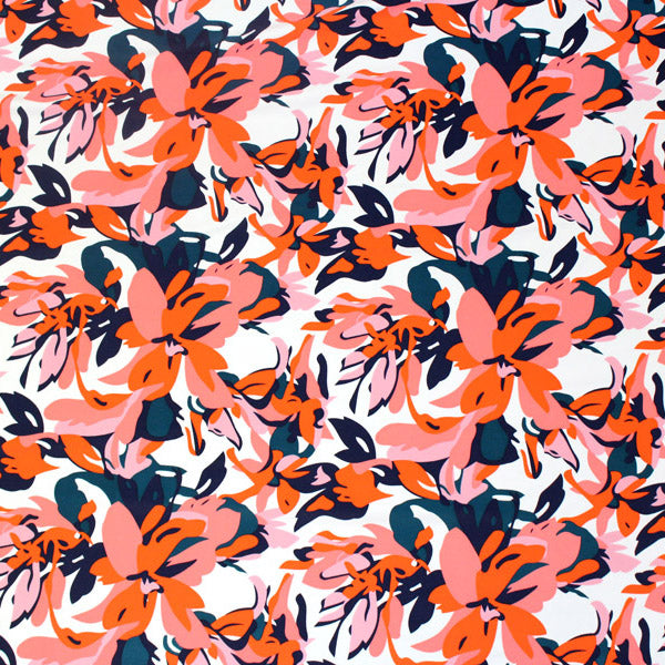 A flat sample of Cartoon Hawaii Flowers Printed Spandex.