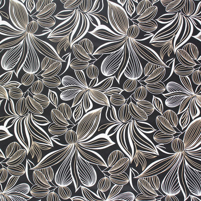 A flat sample of Black and White Butterfly Flowers Printed Spandex.