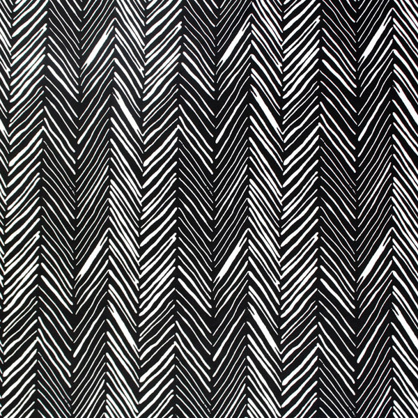 A flat sample of Black White Chevron Printed Spandex.